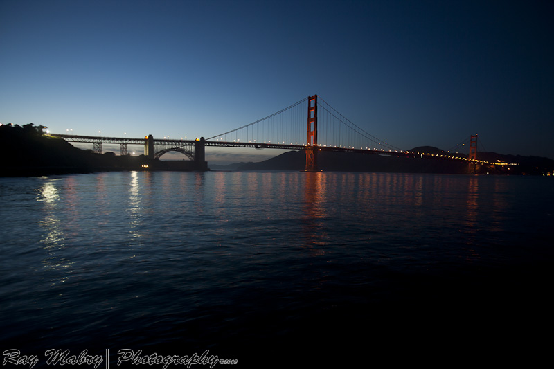 Night scene of the GGB